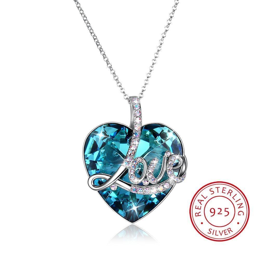 Hochwertige Kristalle von Swarovski Element Bunte Herz Anhänger S925 Sterling Silber Halskette Lange Kette Liebhaber Valentinstag Geschenk