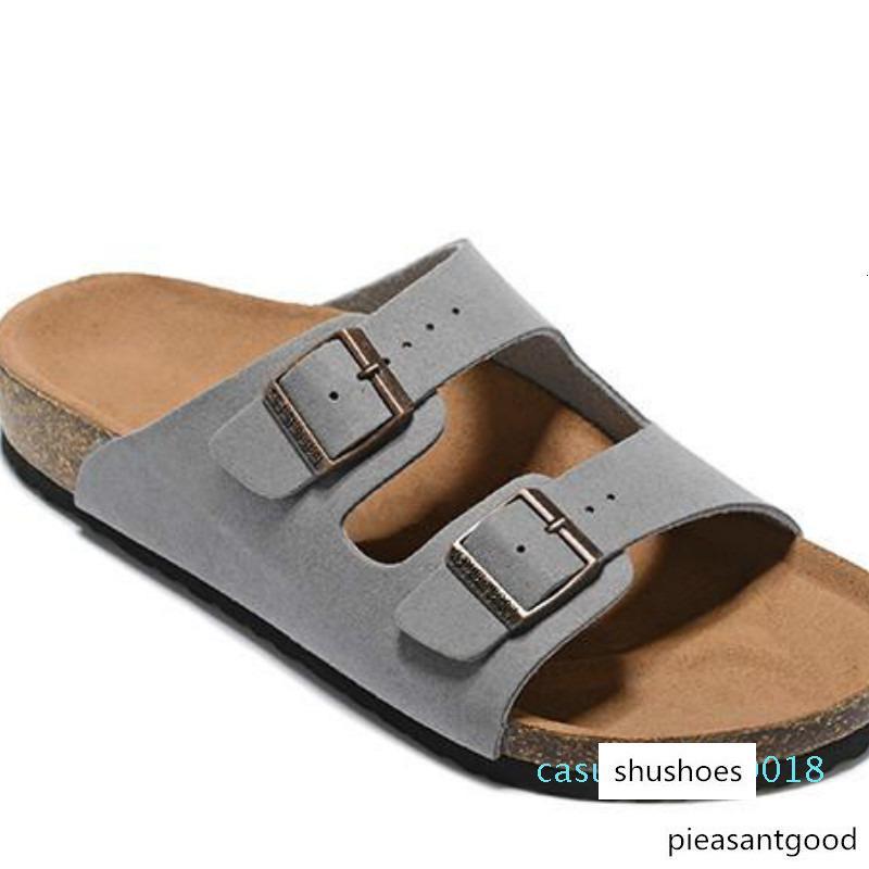 Sandales plates Hommes Femmes Chaussures Casual Double Boucle Célèbres Arizona Summer Beach Top qualité en cuir véritable chaussons avec Orignal Box C18