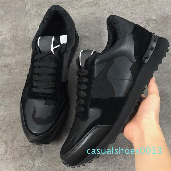 En Yeni Renkler Rockrunner Sneakers Erkek Kadınlar Gerçek Deri Düz Eğitmenler Tasarımcı Kamuflaj Dantel-up Platformu Nedensel Ayakkabı c13
