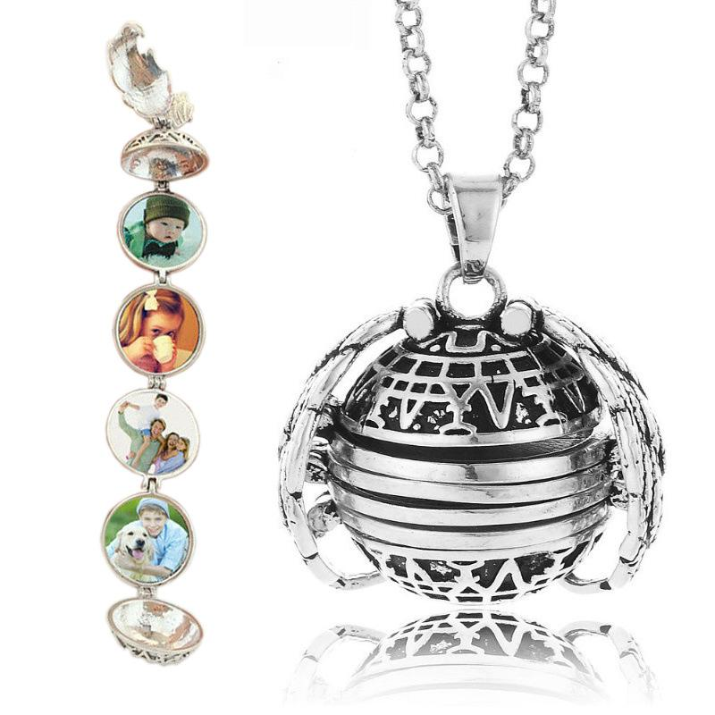 Fold Photo Locket Necklace Openable Live Memory Photos Pendant Silver Gold DIY Necklaces Fashion Jewelry Drop Ship 380177