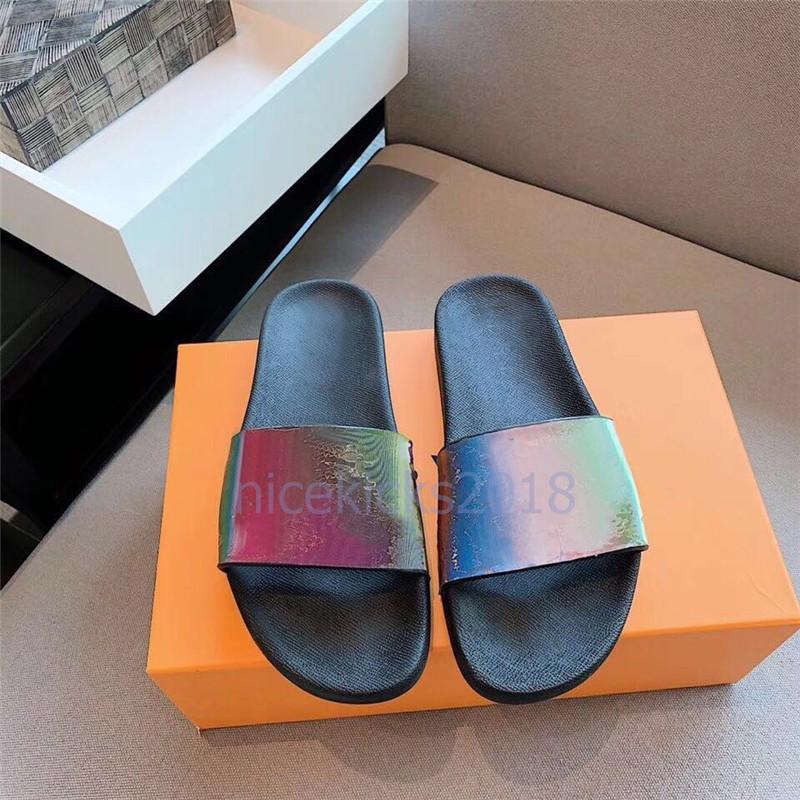 Lüks Tasarımcı Çevirme Mens Womens Yaz Sandalet Plaj Slayt Terlik Bayanlar Sandali Firmati Da Donna Ayakkabı Klasik Lazer Renkli