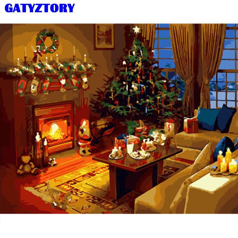 GATYZTORY Frame da decoração de Natal pintura DIY por números parede acrílico arte imagem presente original pintado à mão para decoração de casa arte