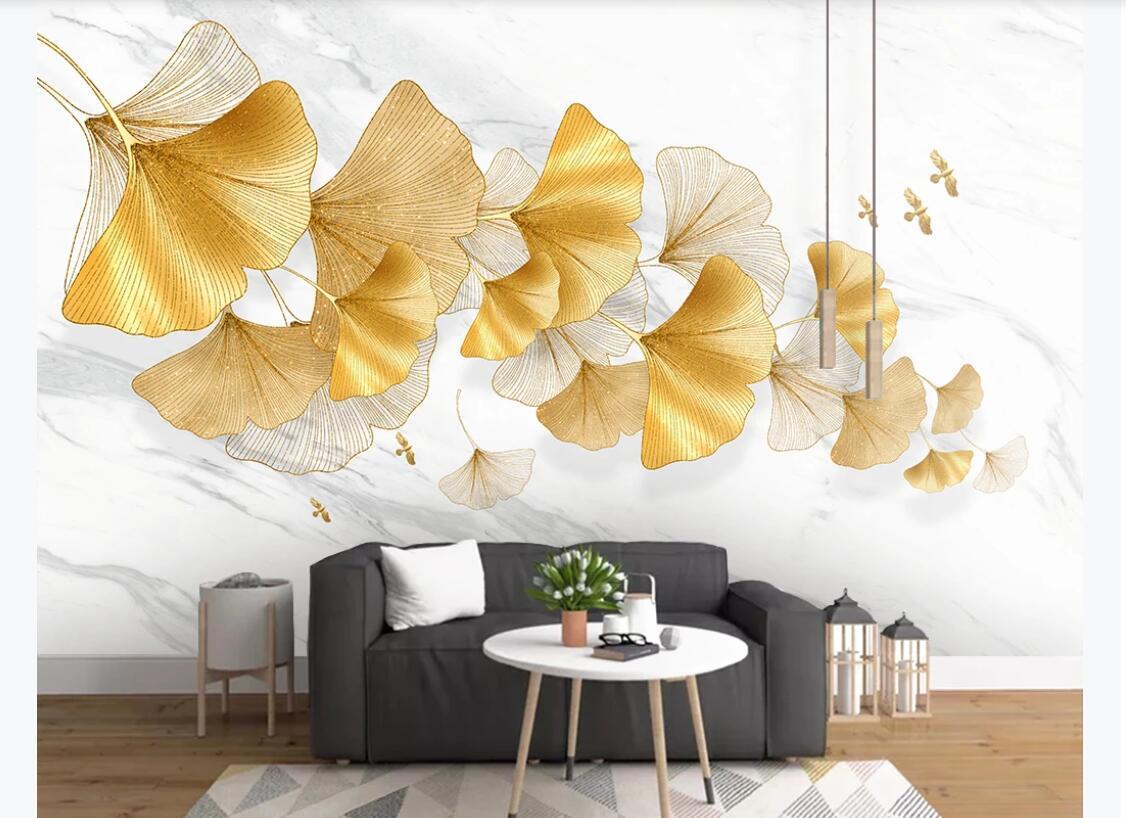 Quarto 3d papel de parede personalizado foto mural moderna folha ginkgo ouro pintados à mão Nordic planta sofá fundo da parede de papel de parede para paredes 3 d