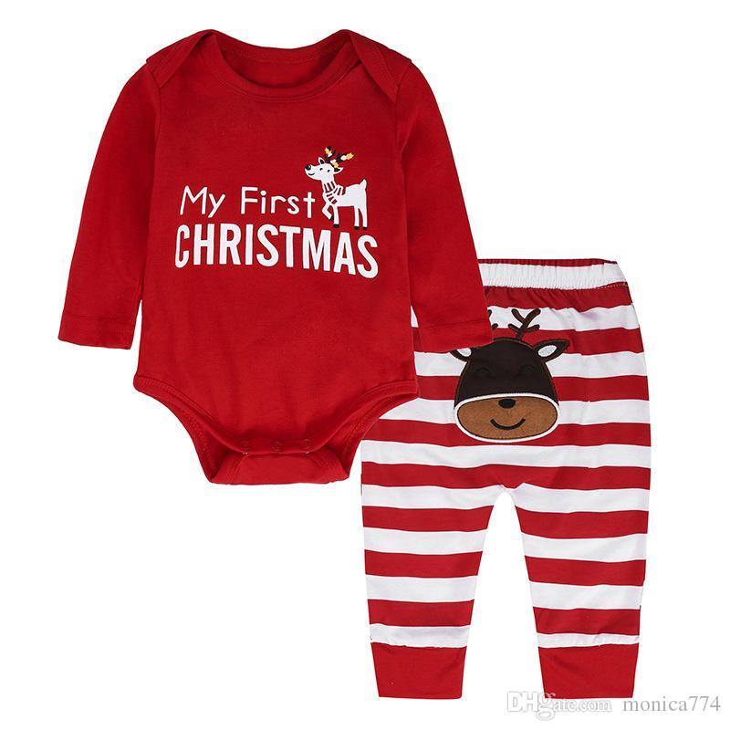 6M-2T INS HOT Baby First Christmas ELK Conjunto de ropa 2PCS Trajes de manga larga + Pantalones conjunto Niño pequeño Niños Traje de primavera Mameluco rojo Zebra Pantalones IC1
