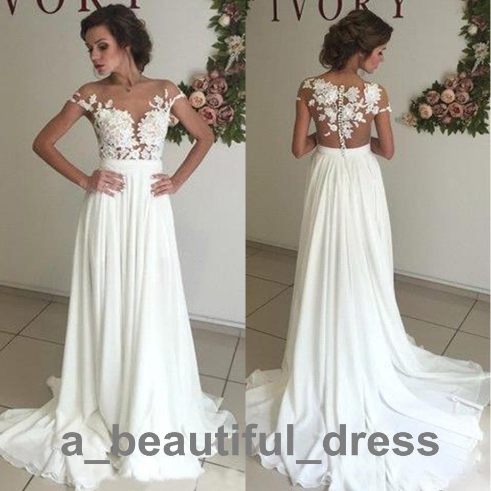 Пляж дешевые свадебные платья Sheer шеи Cap рукава шифон кружева аппликация высокая сторона Сплит свадебное платье Wed Party Dress ED2258