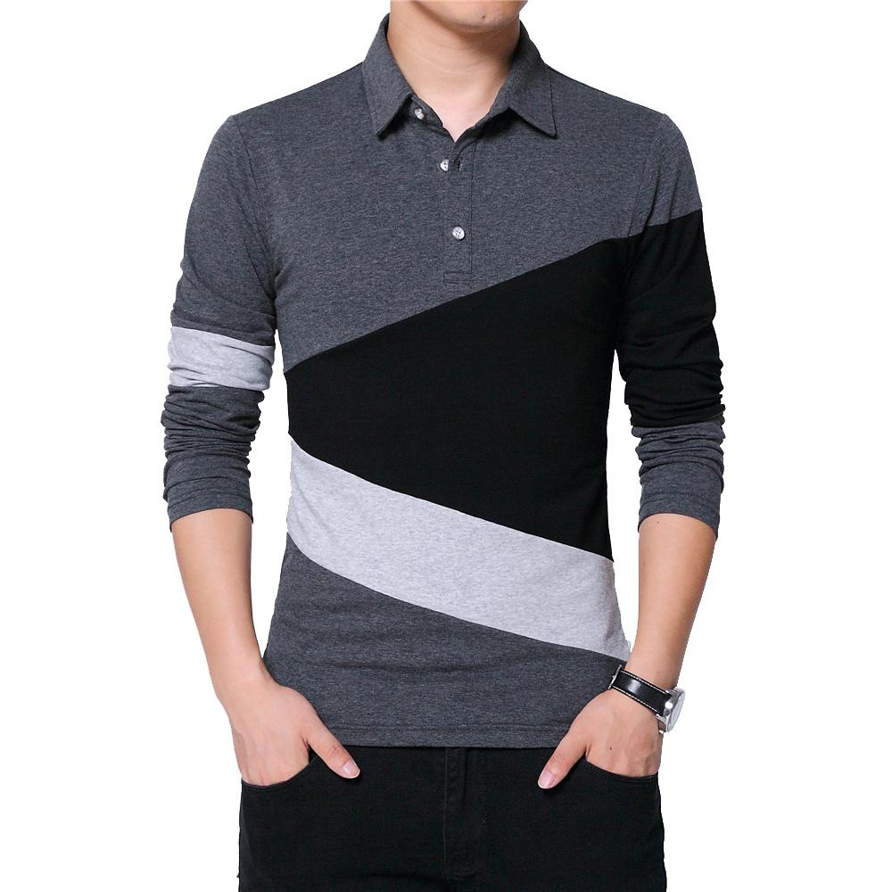 тенниска балахон человек Осенняя мода плюс размер 5XL Мужская футболка с воротником цвета Лоскутное футболки с длинным рукавом футболки мужской одежды