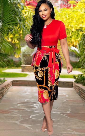 Neck Abiti Casual Estate ginocchio lunghezza abiti Abbigliamento Donna Zipper Stampa manica corta vestiti sexy Ladys Slim Crew