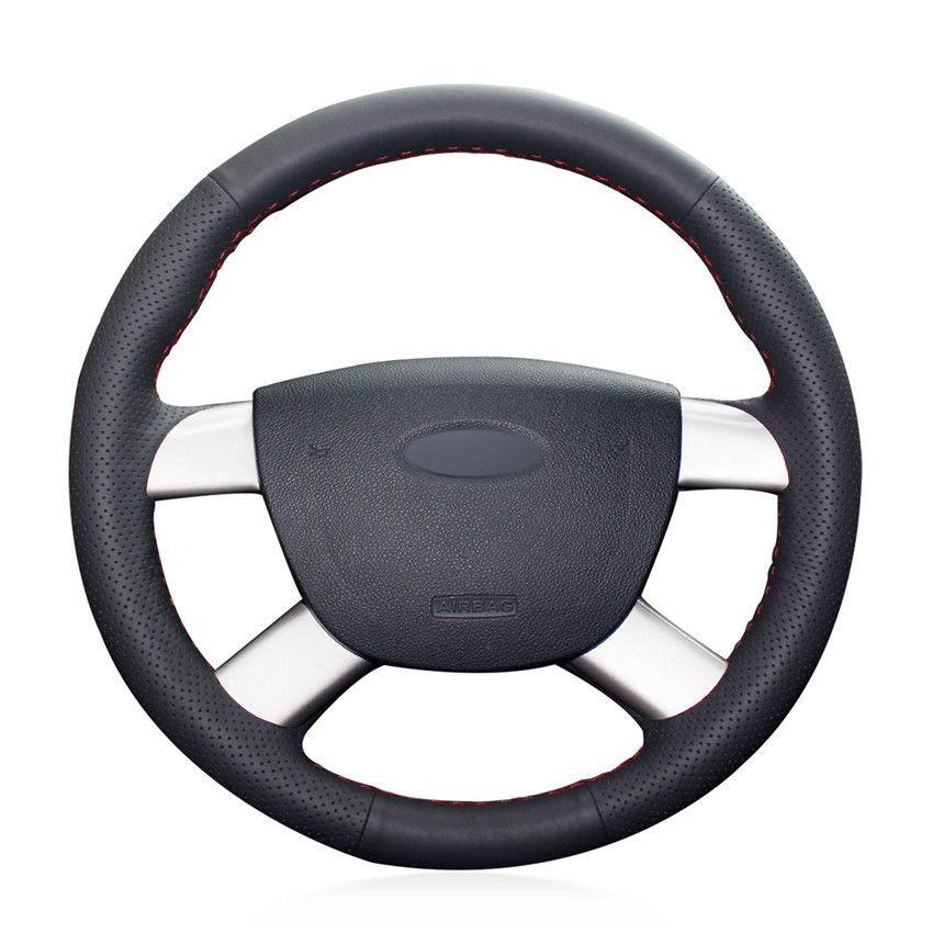For Ford Kuga 2008-2011 hand-sewn steering wheel cover black artificial leather