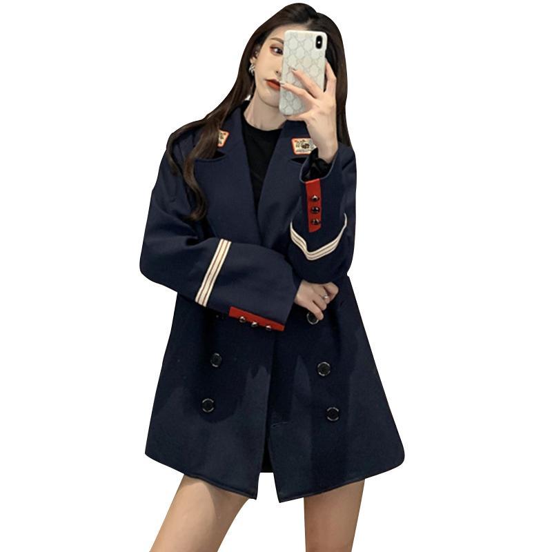 여성 블레이저스 한국 스타일의 느슨한 맞춤 정장 가을과 겨울 캐주얼 영국 스타일 재킷 Feminino