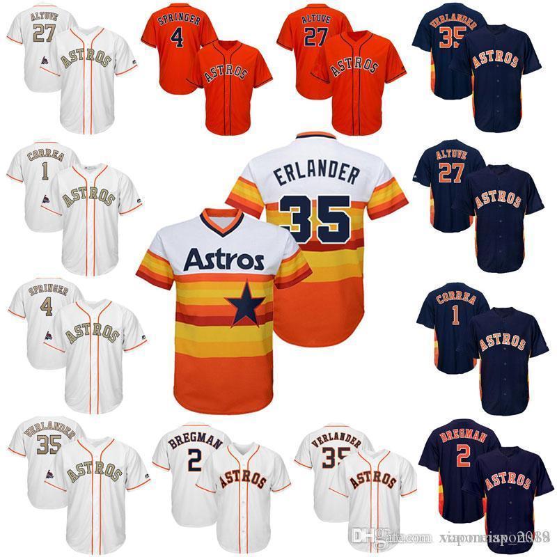 Männer Frauen Kinder Justin Verlander Alex Bregman Jose Altuve Jersey Men George Springer Carlos Correa Craig Biggio Ryan Baseball-Shirts