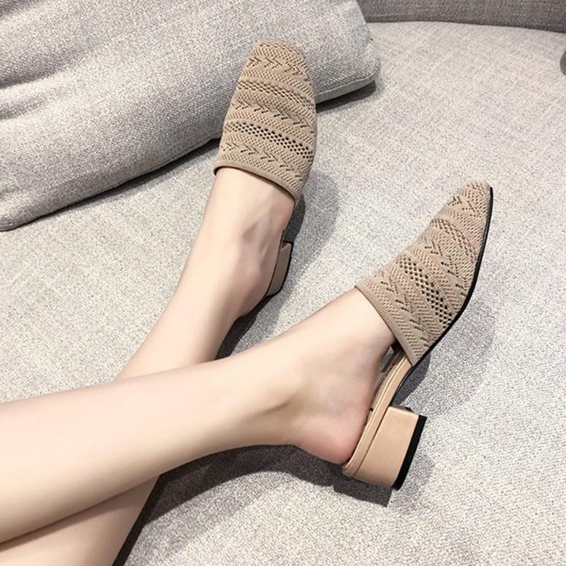 A maglia stretti pantofole punta donne tagliate panno flipflops addensare cunei tacchi scarpe da spiaggia muli traspiranti volare scarpe tessitura