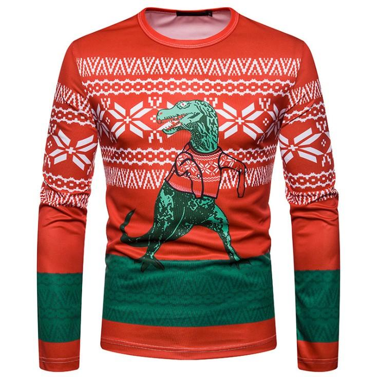 Noël drôle T-shirt Homme Femme manches longues T-shirt Homme Casual animal 3D Imprimer Mens Slim Fit T-shirts Tops Harajuku