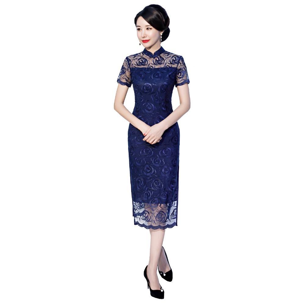 상하이 스토리 동양의 복장 중국어 번체 드레스 Cheongsam 꽃 자수 레이스 Qipao 중국어 여성 2 색