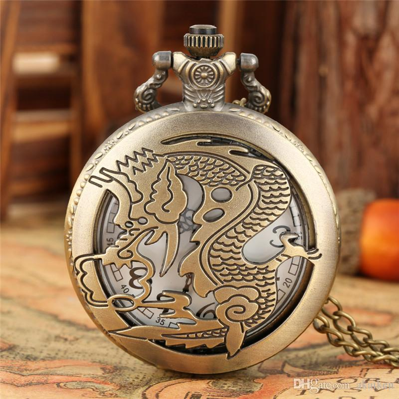 Classic China Style Vintage Pocket Watch Carved Zodiac Dragon Analog Quartz Watches with Chain Necklace for Men Women Birthday Gift