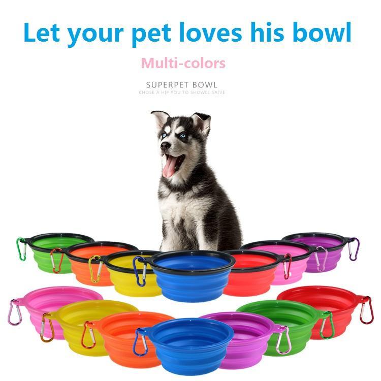 2020 seksi Pet Bowl Yeni Seyahat Katlanabilir Silikon Kedi Köpek Bowl Taşınabilir Pet Su Bulaşık Besleyici Katlama bulaşığı Kedi Maması Bowl Kancalı
