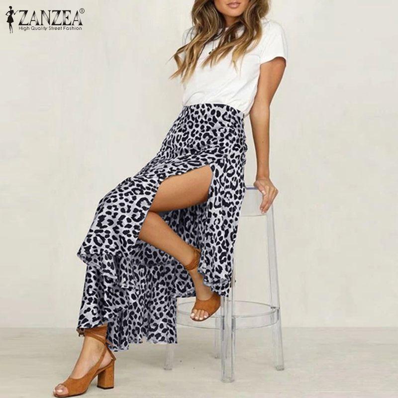 ZANZEA Sexy femmes imprimé léopard Jupes d'été Plage Jupes taille haute de Split Hem Jupe Jupe Bohemian Casual Volants Saia