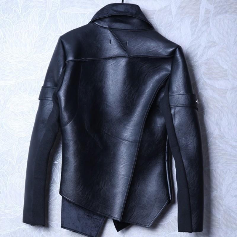 Winter Mens Short Slim Pu Jacket Luxury Designer Punk Fashion Warm Zipper Leather Coat Male Stage Clothes Men S-3XL