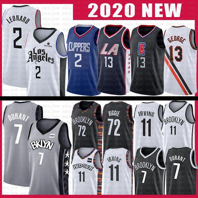 Kawhi 11 2 Kyrie Irving Leonard Basketball Jersey Paul 13 George 7 Kevin 72 Biggie Durant LAcliperBrooklynNets Clipper Net