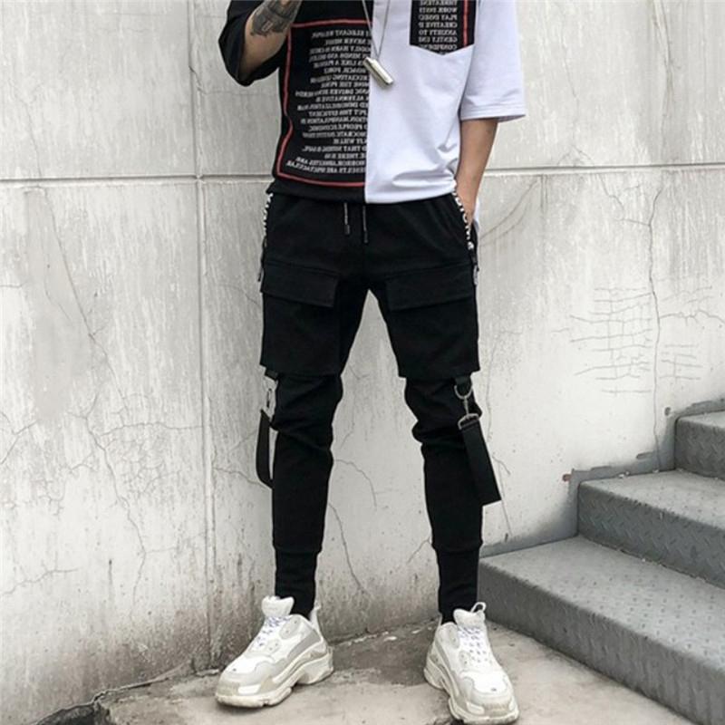 Streetwear recto de la pierna ancha con cordón del dobladillo del basculador de carga de bolsillo Track Pant Hiphop Harem fitness Moda suelta pantalones pantalón