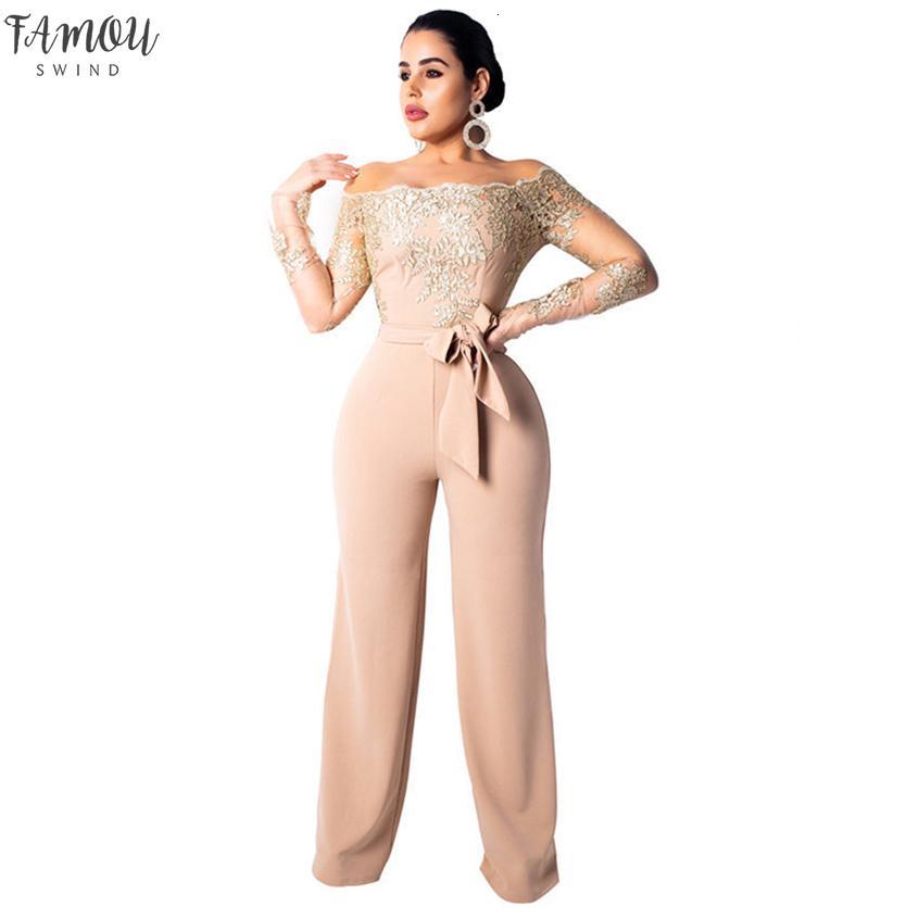 Épaule Sexy dentelle Jumpsuit Summer Fashion Bandage Combinaison large à manches longues élégant Off Bodycon Jumpsuit Femme