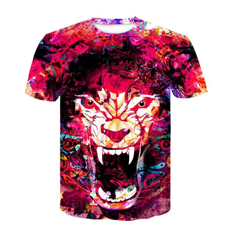 3D Tiger Druck T-Shirt Weibliche Lustige t-shirt Frauen Mode Tops Tees Ölgemälde T-shirt Mujer Poleras Casual XXL Ypf263