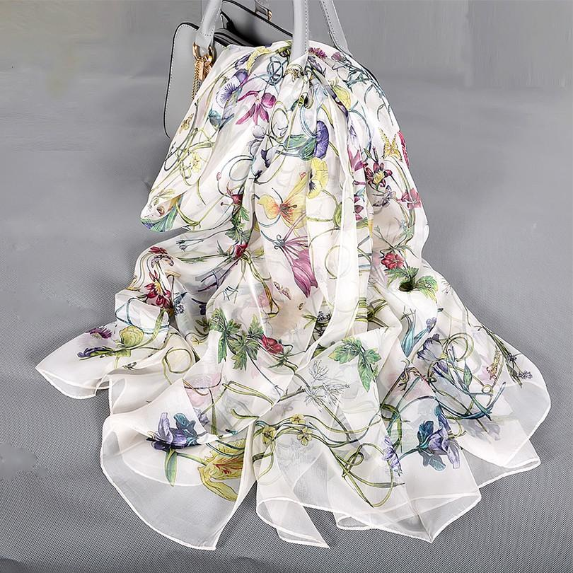 White 100% Silk Scarf Cape Fashion Floral Design Long Scarves Women Summer Utralong Beach Shawl Winter Scarves180*110cm
