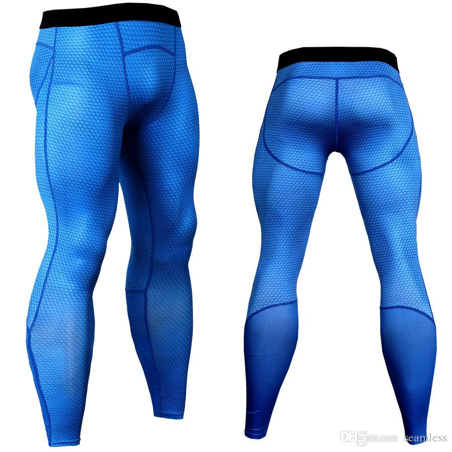 Wholesale 2019 Rashghard Sport Pants Men Running Tights Snake Scales Fitness Leggings Gym Clothing Compression Trainning Workout Trousers