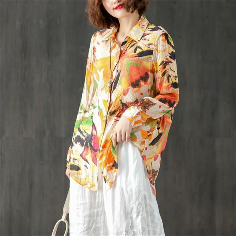Frauen Blusen Hemden Sommer Gedruckt Kragen Einzigen Breasted Bluse Frauen Langarm Casual Lose Reißverschluss Weibliche Unregelmäßige Hemdtops
