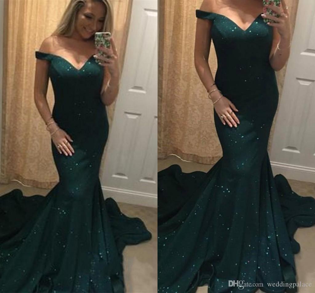 Venta caliente verde V-cuello de la sirena de los vestidos de noche de lentejuelas cierre trasero Capilla Tain noche formales de los vestidos vestidos de baile