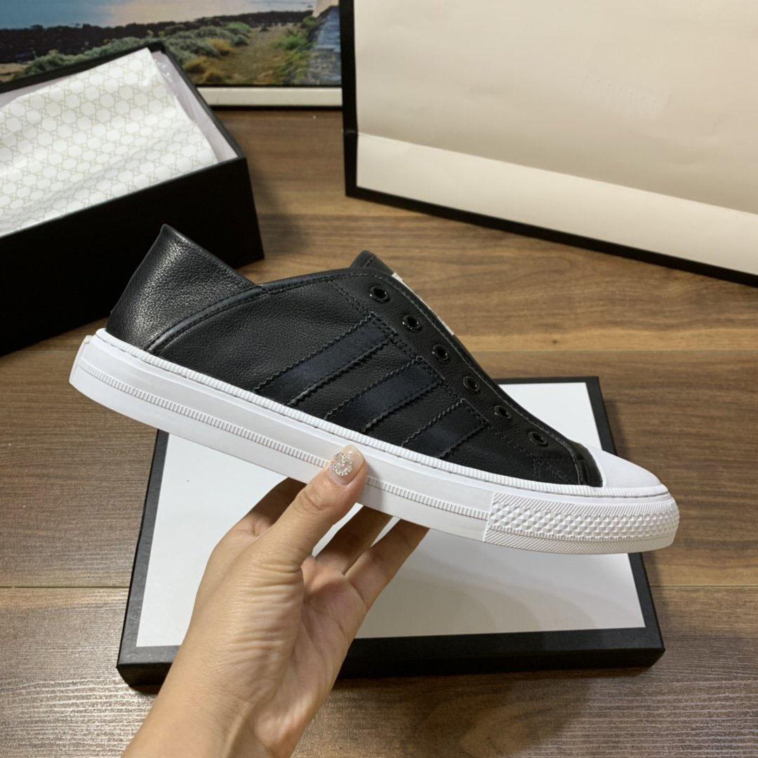 Novos homens marca de baixo top sapatos casuais designer clássicos pretos brancos couro genuíno lazer formadores apartamentos sneakers sapatos masculinos 38-44