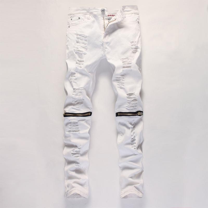 Голеностопного Zipper мужские джинсы Тонкий прямой Проблемные Hole рваные джинсы Мужчины Черный Белый Красный Тощий Jogger Брюки Мужской конструктор для брюк