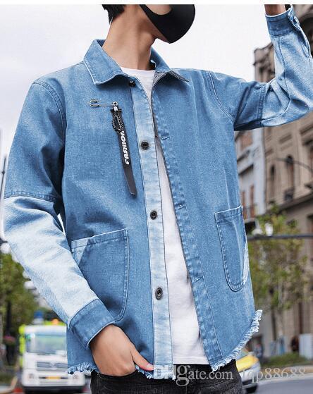2019 primavera autunno nuova giacca in denim da uomo giacche coreane tendenza bel giovanotto camicia capispalla cappotto abbigliamento