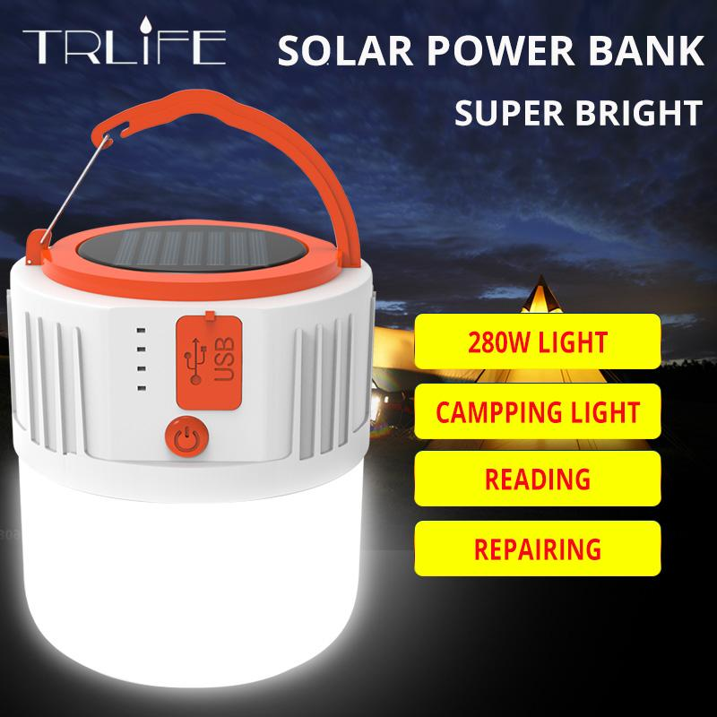 TRLIFE Portable Lanterns USB Rechargeable LED Bulb Lamp Solar Charge 280W Emergency Night Market Light Outdoor Camping Light