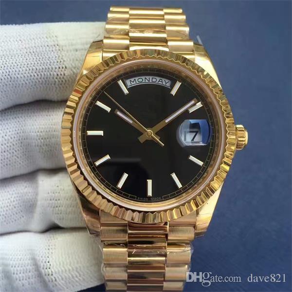 18 orologi di lusso di colore Mens orologio meccanico automatico Moda cinturino in oro luminoso nero bianco verde faccia orologi da polso da uomo di alta qualità