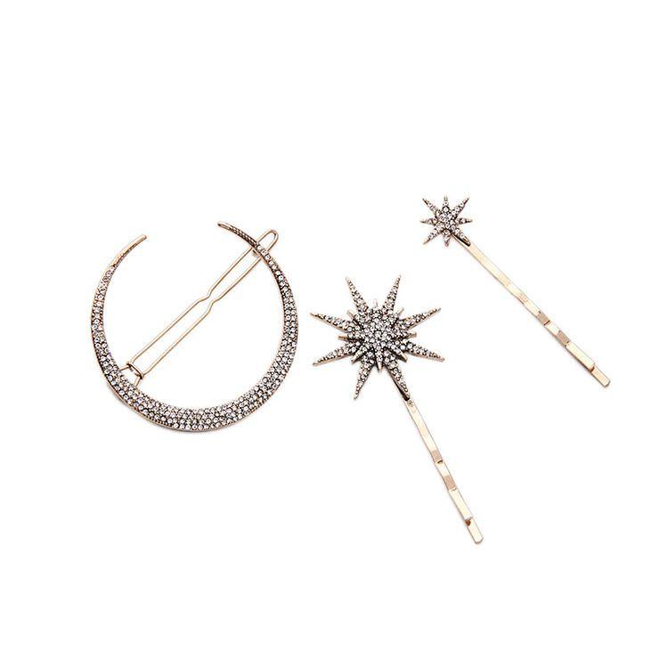 Мода европейского и американского стиля моды моды ювелирных изделий оптом сплава алмазная лунная звезда подвеска шпильки бокового зажима женщин