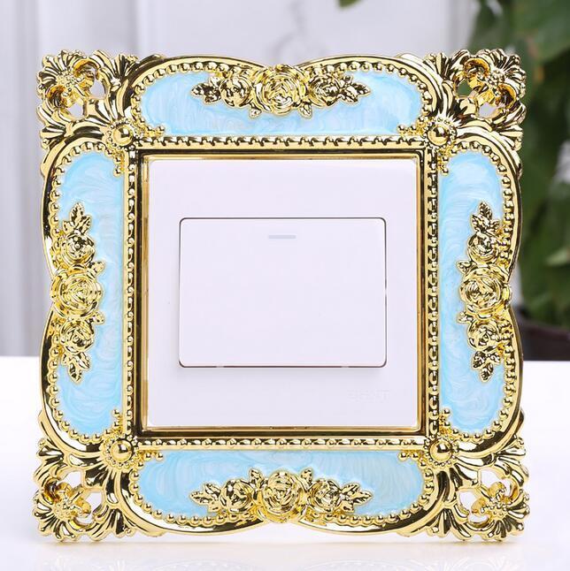 Resina elegante para un solo interruptor de luz envolvente zócalo dedo placa de flor Panel de decoración de la pared pegatinas de plástico al por mayor