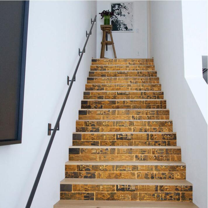 3d Retro Stone Brick Stairs Sticker Diy Self Adhesive Wall Sticker Decal Staircase Mural Waterproof Wallpaper Home Decor Sticker Large Wall Art