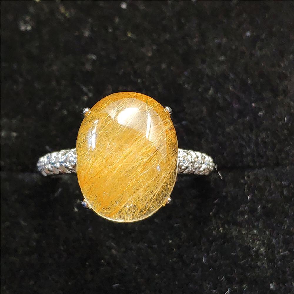 El oro natural de cuarzo rutilado ajustable Anillo 14x10mm joyería oval 925 aniversario Mujer Hombre Anillos