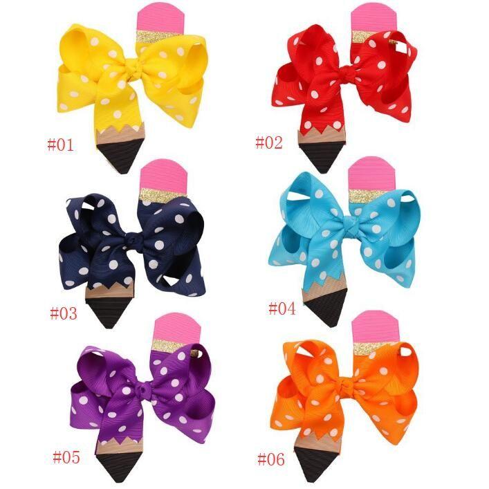 4,5 pollici Pois Bow con clip Matita Forma flusso Nastro per capelli Di nuovo al b regalo ragazze di Bowknot Hiar clip accessori per capelli
