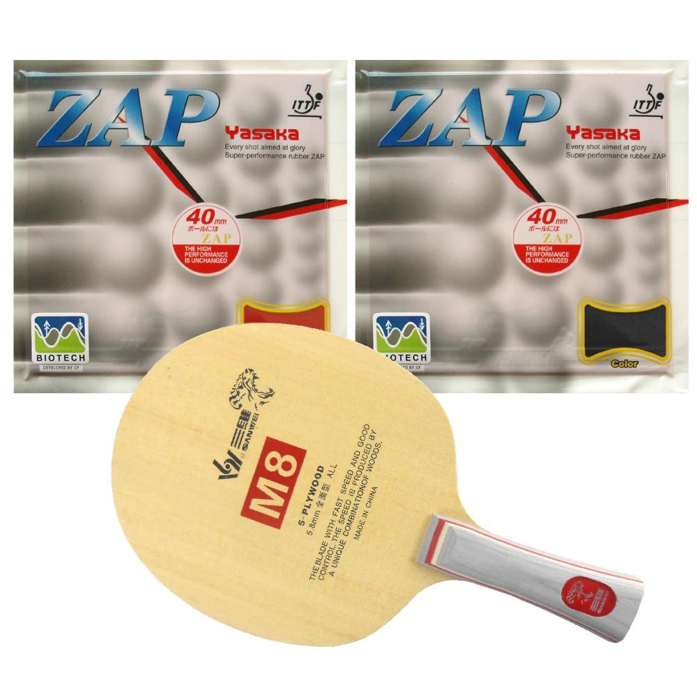 Sanwei M8 blade + 2 pieces of Yasaka ZAP 40mm BIOTECH NO ITTF rubber with sponge H36-38 for a racket Long shakehand FL