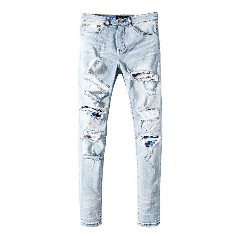 2019 Moda Retro Tasarım İnce Siyah Mavi Denim Süveter Pamuk Denim Süveter Jeans Erkek Önlüğü Süveter Büyüklüğü 28-40 # X4 Broken