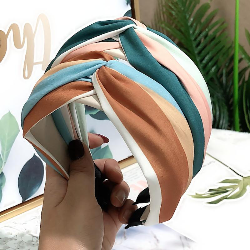 Женщины Весна замша мягкого Полосатый ободки Vintage Cross Knot Упругих Hairbands Банданы Девушка ленты для волос Аксессуары для волос
