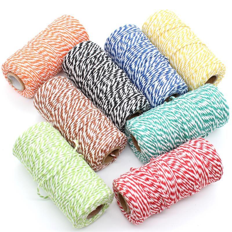 KSCRAFT 2 мм пекари шпагат натуральный хлопок шнур DIY/декоративные ручной веревки для изготовления бумаги 100 м/рулон