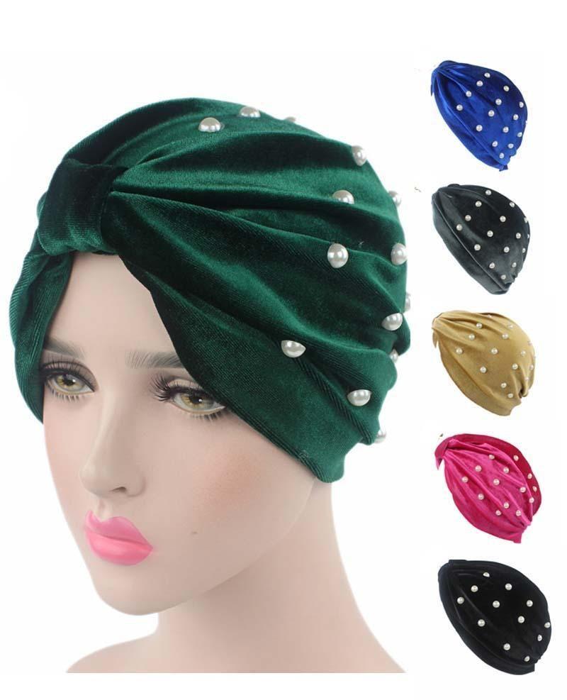 Frauen Muslim Cap Stretch Turban Samthut Haarausfall-Kopf-Verpackungs-Kappe Chemo-Hut Caps Arabische Bonnet Perlen Beanies Skullies Art und Weise neu