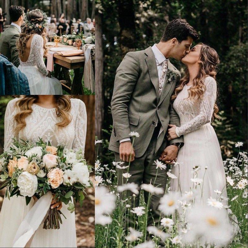 Verão Bohemian de vestidos de casamento da Linha 2020 elegante sem encosto manga comprida Lace Campo Boho vestidos de noiva vestido de noiva BC1704
