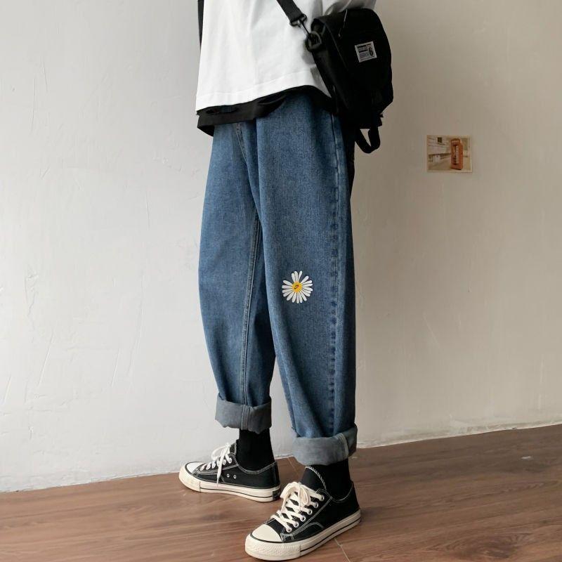 Knöchel-Länge Jeans für Männer Vintage-Kleidung Druck tiktok straig 2020 neuer Frühling Jeans Herren Kleidung lose plus Größenjeans