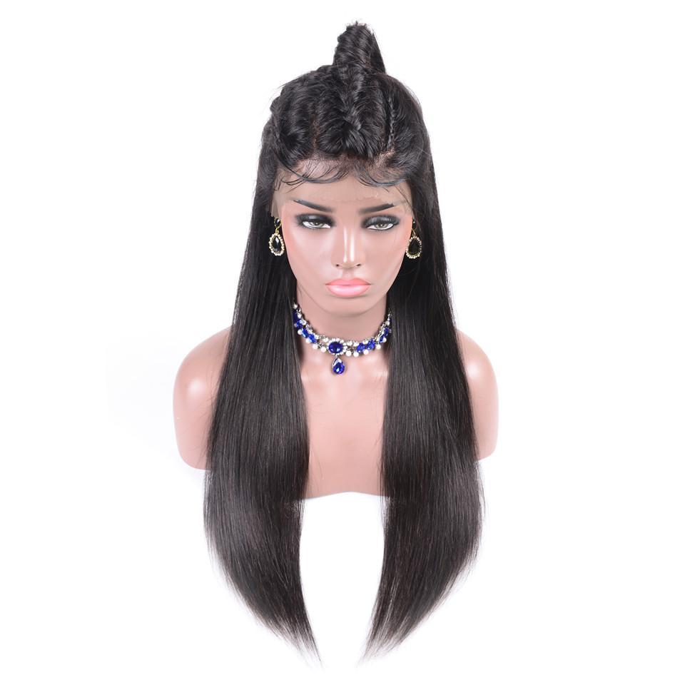 Peru Dantel Ön İnsan Saç Peruk İçin Siyah Kadın Doğal Renk Remy Uzun Düz Peruk insan Saç
