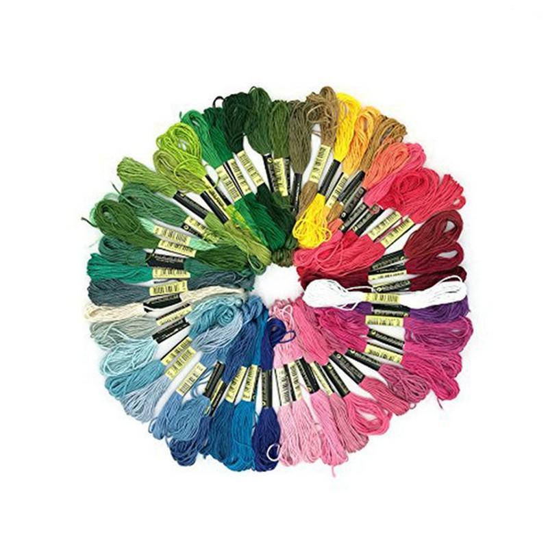 التطريز الخيط الموضوع 50 شلات الغزل ألوان قوس قزح ستة ستراند التطريز متعدد الألوان عبر الابره أساور الصداقة