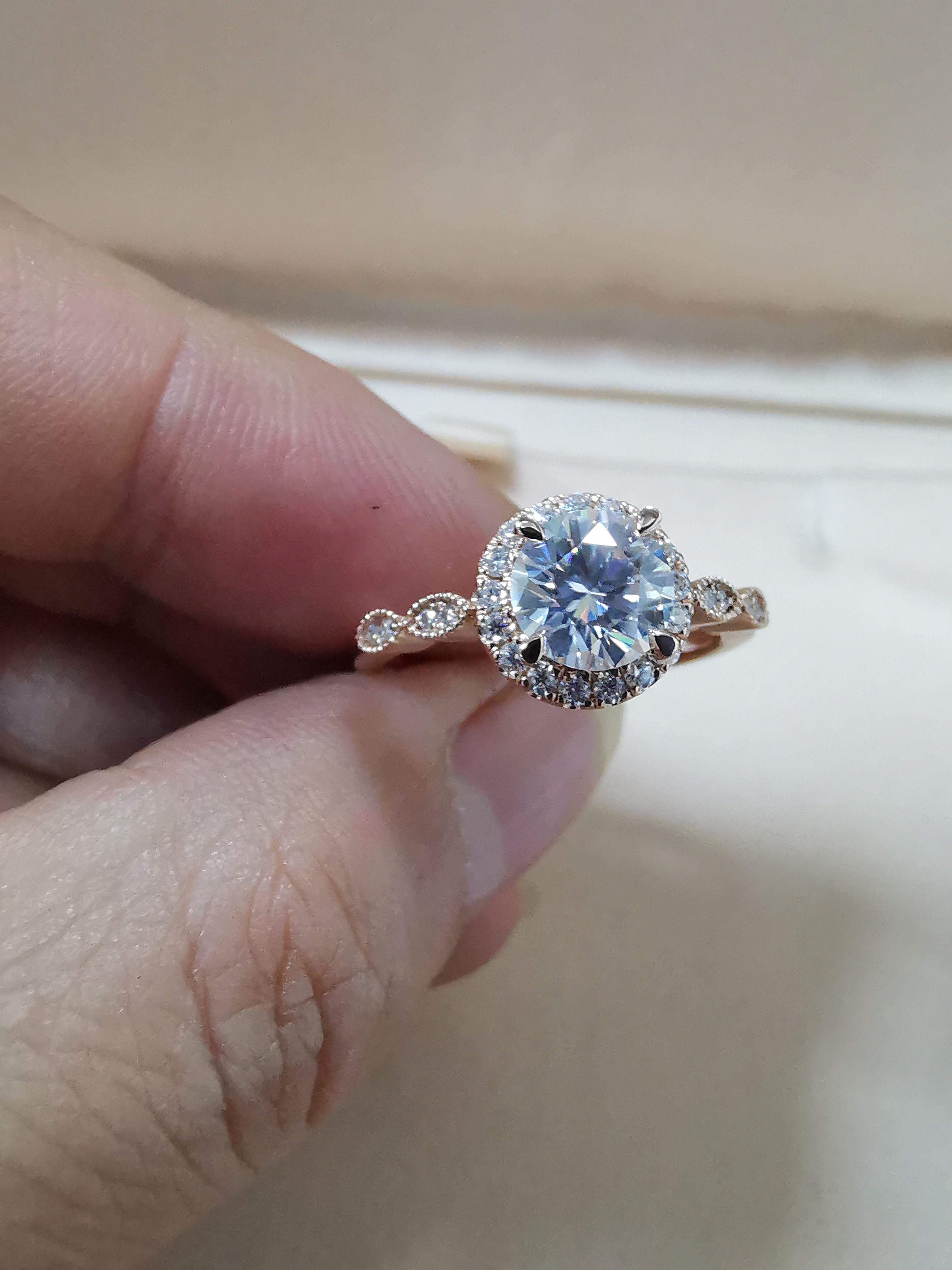 Изысканные ювелирные изделия муассанит бриллиантовое роскошное кольцо круглое обручальное кольцо 18k Rose Solid Gold ювелирные кольца для женщин AU750 штампованные оптом