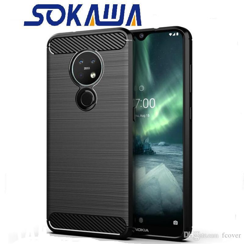 Per Nokia Nokia 7.2 2.2 3.2 4.2 6.2 2.1 3.1 5.1 6.1 7.1 8.1 6 Inoltre Casi in fibra di carbonio di silicio TPU della pelle del gel Shell copertine morbide